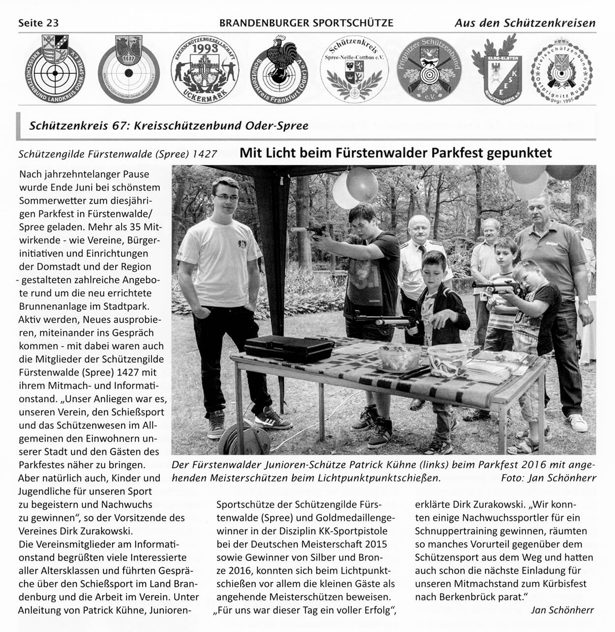 """Artikel über die Sommeraktivitäten der SGi im """"Brandenburger SportSchütze"""" Ausgabe-08-16"""